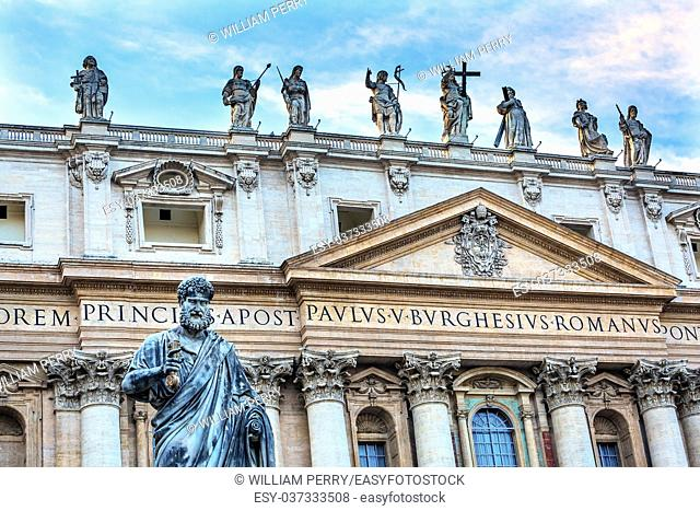 Facade Statues Saint Peter's Basilica Saint Peter Keys Statue's Basilica Vatican Rome Italy. Statue commissioned in 1847 by Giuseppe De Fabris