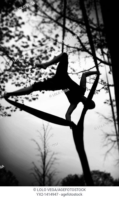 Woman doing acrobatics in a tree