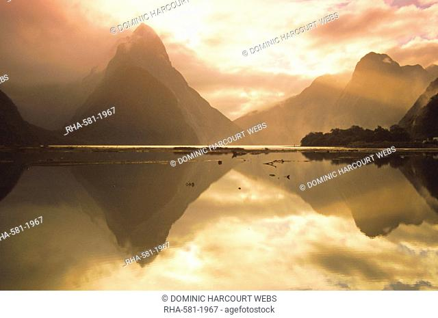 New Zealand, South Island, Milford Sound, Mitre Peak At Sunset