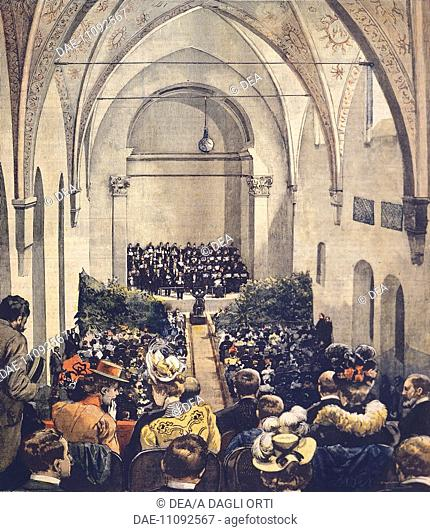 Inauguration of Perosi Music Hall in Milan, by Achille Beltrame (1871-1945), cover illustration from La Domenica del Corriere, 6 May 1900