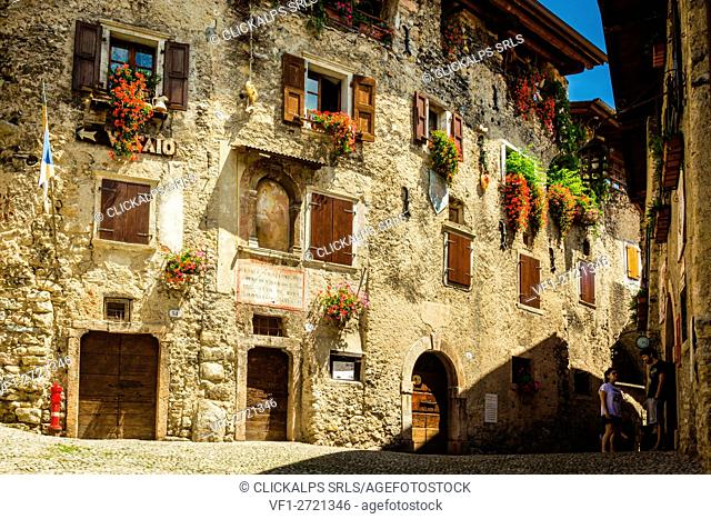 Canale, Tenno, Province of Trento, Trentino Alto Adige, Italy. Medieval village on mountain above lake