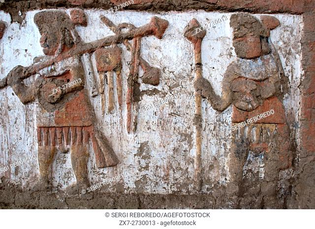 Details of an ancient fresco in Huaca de la Luna in Trujillo, Peru