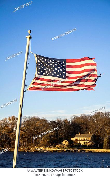 USA, Massachusetts, Cape Ann, Gloucester, Annisquam, US flag