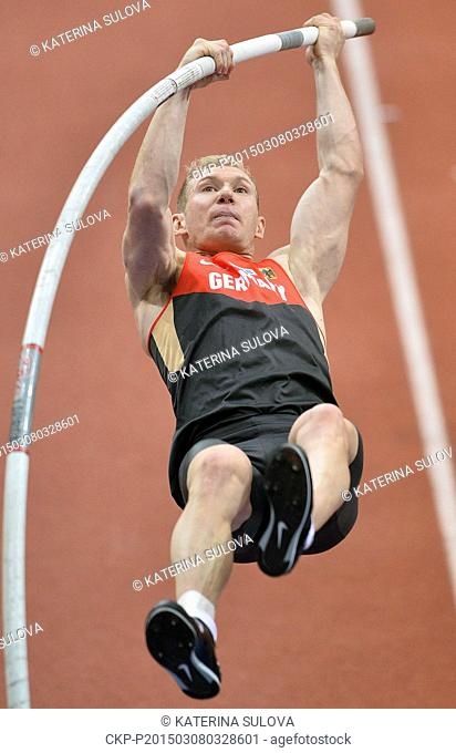 Germany's Arthur Abele makes an attempt in the pole vault of the men's heptathlon during the European Athletics Indoors Championships in Prague, Czech Republic