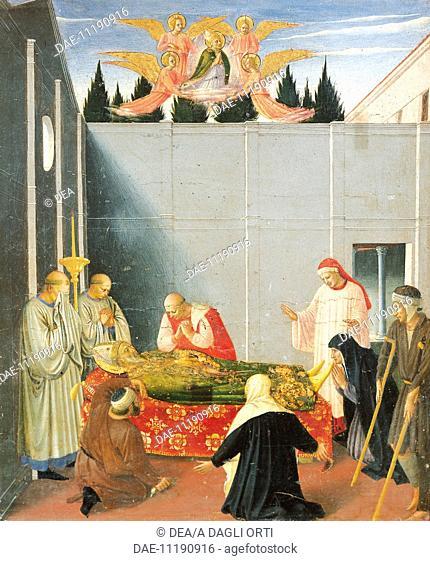 Predella depicting the death and ascension of St Nicholas, Perugia Altarpiece, 1438, by Giovanni da Fiesole known as Fra Angelico (1400-ca 1455)
