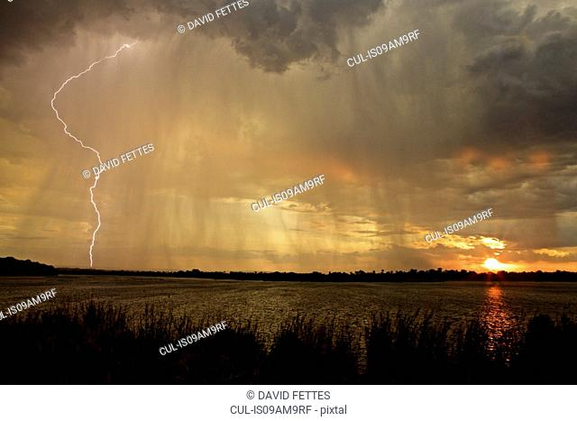Lightning storm over lake, Simonga, Livingstone, Zambia