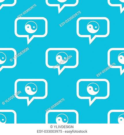 Image of ying yang symbol in chat bubble, repeated on blue background