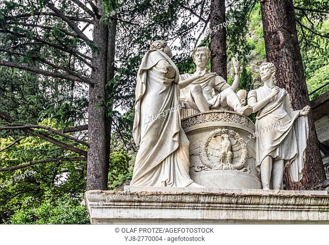 "Sculpture """"Clemenza di Tito"""" at the Botanical Garden of Villa Monastero, Varenna, Lombardy, Italy"