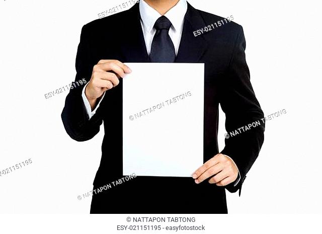 Business man Hold blank placard isolated