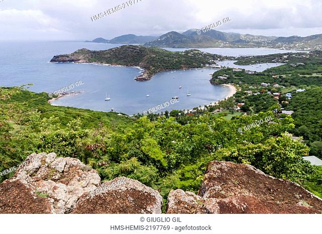 Antigua and Barbuda, Antigua Island, north west coast of island, view on Sandy Ground Bay, from Shirley Heights Lookout