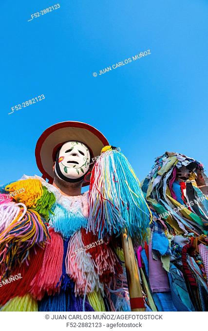 Man in traditional costume at La Vijanera Carnival. Silio. Molledo Municipality, Cantabria, Spain
