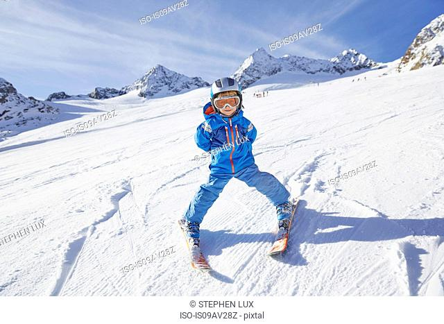 Boy skiing, Stubai, Tyrol, Austria