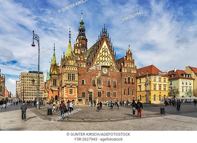 The Old Town Hall of Wroclaw stands at the center of the city's Market Square. The Gothic building is one of the main landmarks of the city