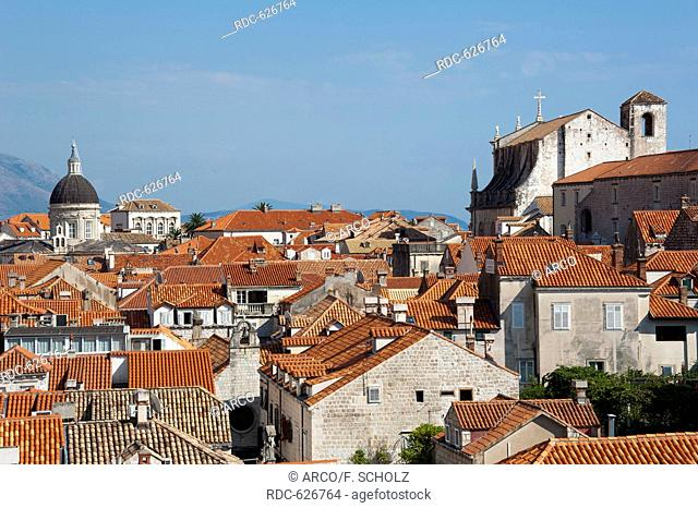 View from the city wall across historic town, old town, Dubrovnik, Dalmatia, Croatia