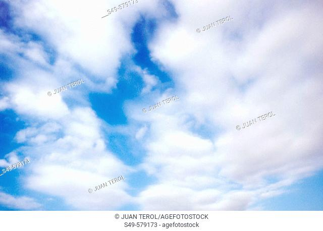 Blue sky with low clouds