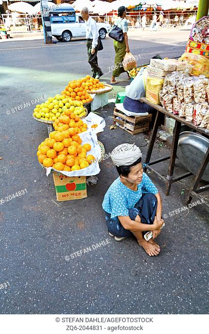 Sale of Oranges in the Streets of Rangoon, Myanmar