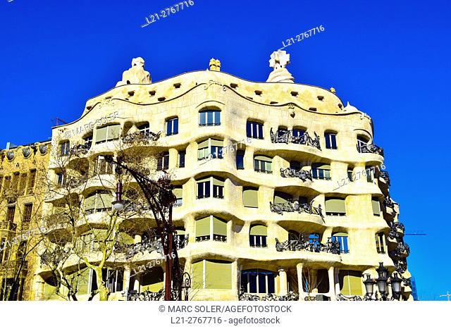Casa Mila aka La Pedrera. Designed by Antoni Gaudi architect. Barcelona, Catalonia, Spain