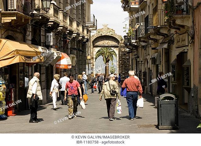 Porta Messina Gate on the Corso Umberto by Taormina, Sicily, Italy