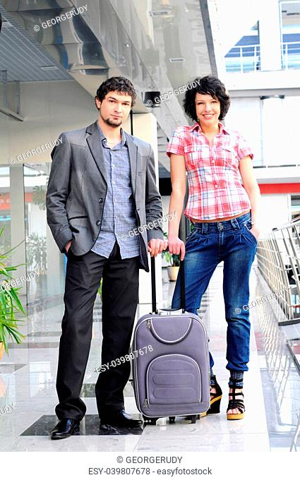 Young couple passenger at the airport