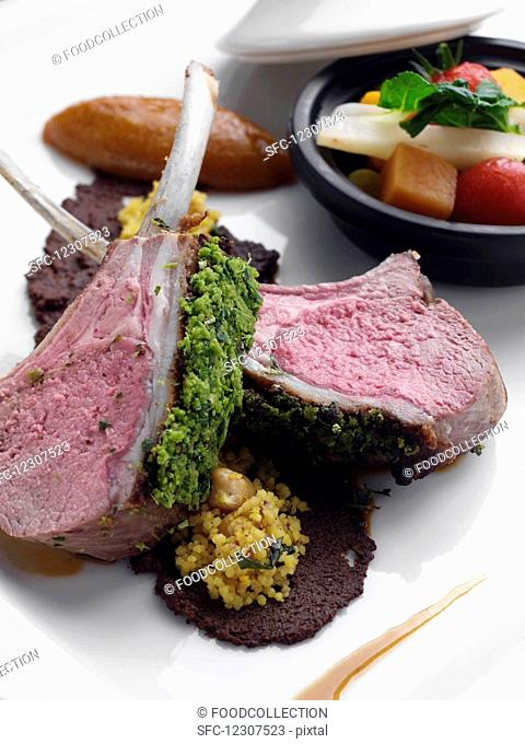 Herb crust Morrocan lamb chops with vegeable tagine