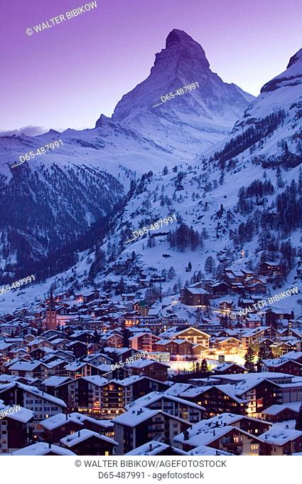 View of ZERMATT & Matterhorn / Evening / Winter. Zermatt. Wallis/Valais. Switzerland