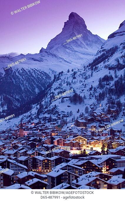 View of ZERMATT & Matterhorn / Evening / Winter. Zermatt. Wallis/Valais. Switzerland