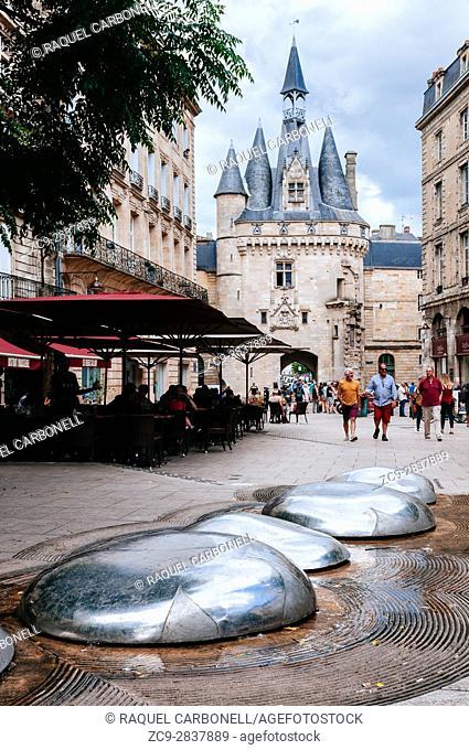 View of Porte Cailhau from Place de Palais, Bordeaux, France