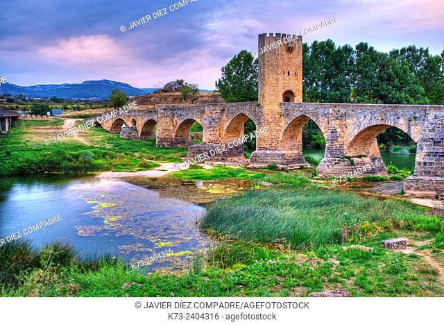 Mediaeval Bridge over Ebro River. Frías. Burgos province. Castilla y Leon. Spain
