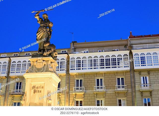 Maria Pita monument at Maria Pita Square. A Coruña. Galicia. Spain