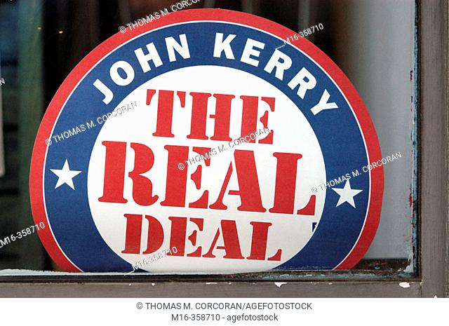 2004 presidential campaign: A Kerry poster in the window of a business in downtown Washington, DC