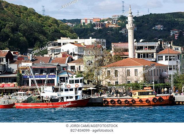 Sariyer town in the Bosphorus Strait near Istanbul Turkey