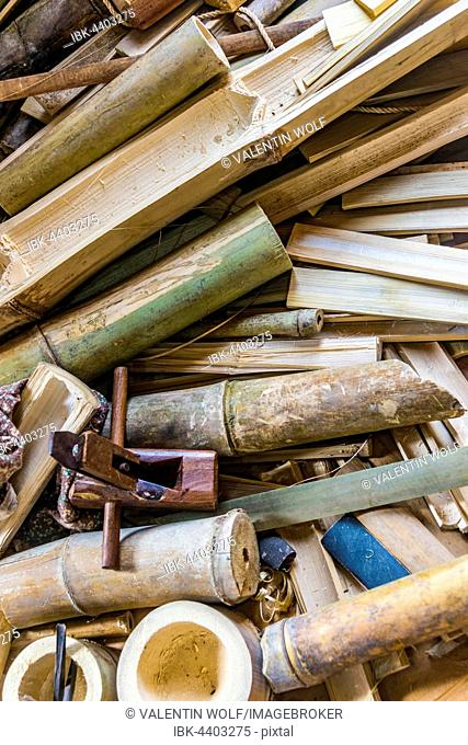 Local crafting tools, bamboo scraps, full-frame, Inle Lake, Shan State, Myanmar