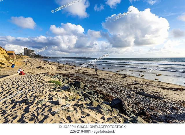 Seascape view from Tourmaline Beach. San Diego, California, United States