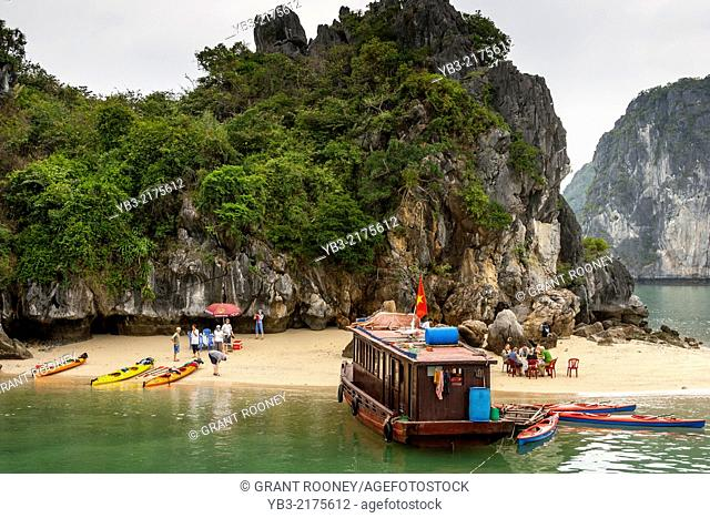 Tourist Boat and Beach, Ha Long Bay, Gulf of Tonkin , Vietnam