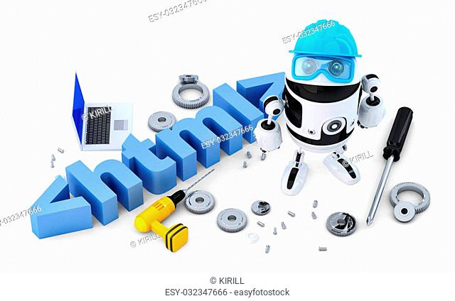Robot with HTML sign. Technology concept. Isolated on white background. Contains clipping path