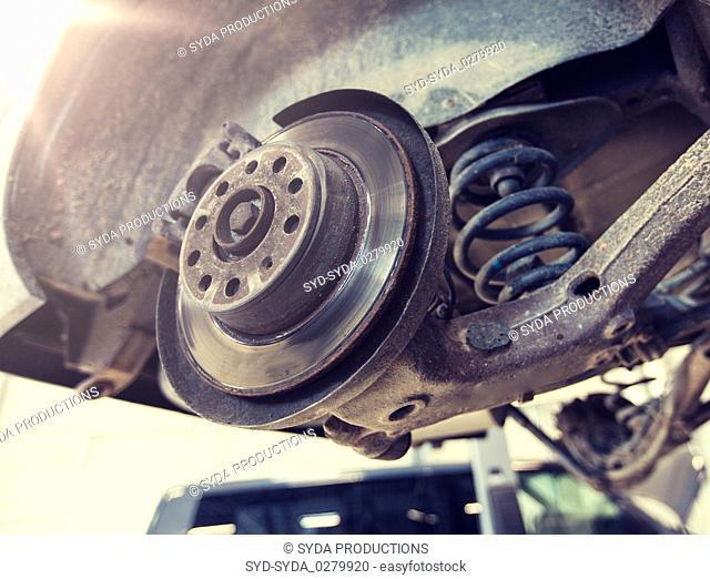 car brake disc at repair station