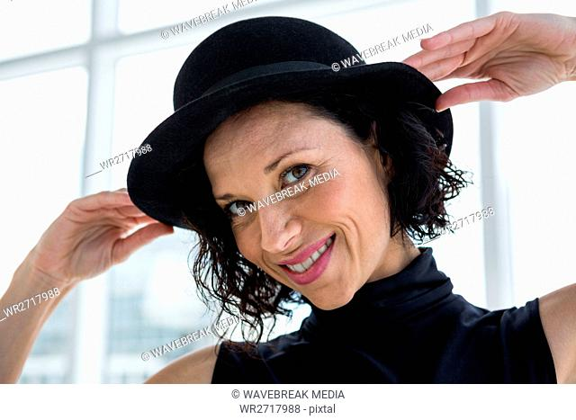 Portrait woman bowler hat Stock Photos and Images  0cd589576b08