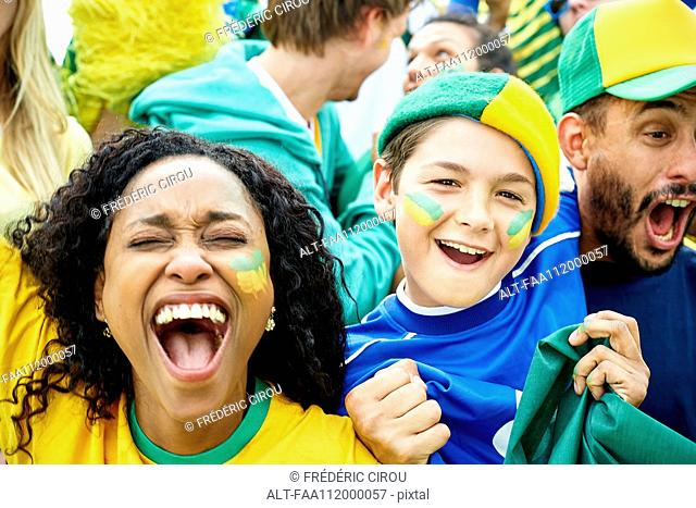 Brazilian football fans watching football match