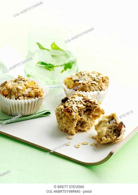 Tray of oat bran muffins