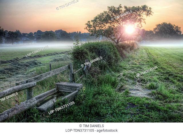 England, Nottinghamshire, Nottingham. A stone water trough in a field with low lying mist at sunrise