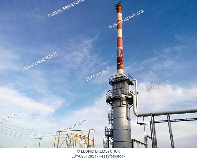Furnace for heating oil at the refinery. The equipment for oil refining