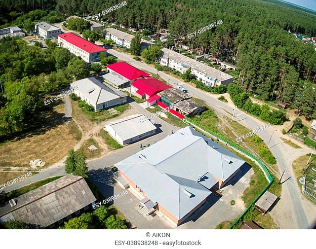 Vinzili, Russia - July 16, 2014: Tyumen regional psychiatric clinic. Aerial view