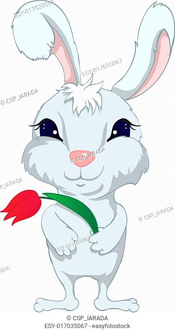 Funny rabbit with flower
