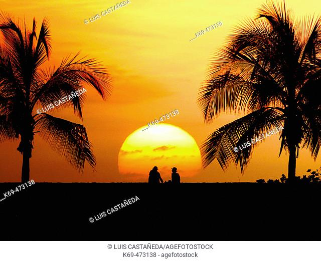 Sunset at Old Airport Beach Park. Kailua-Kona. Hawaii. USA