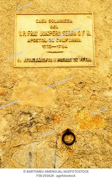 Birth House of Fray Junipero Serra, evangelist of California. Petra. Majorca. Balearic Islands. Spain