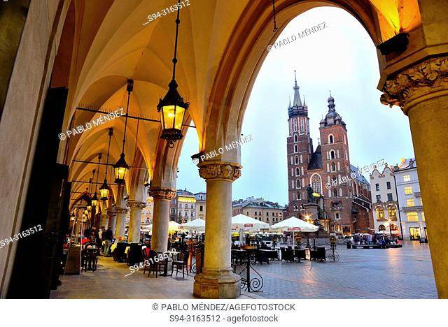 Market square or Rynek. Our Lady of Santa Maria, Krakow, Poland