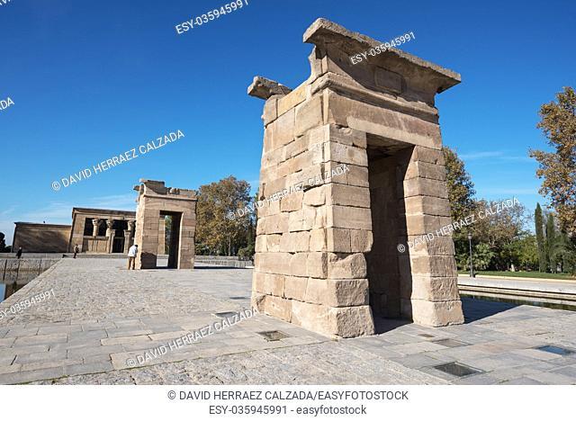 Tourist visiting Famous Landmark Debod, egyptian temple on November 13, 2016 in Madrid, Spain