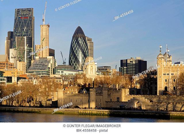 London skyline, Leadenhall Building, The Gherkin and Tower of London, London, England, United Kingdom