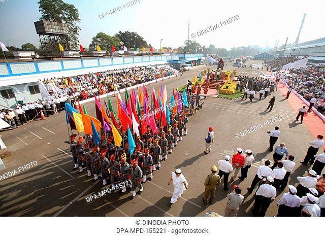 Company of security guards at Tata Nagar carrying flags of different colors during celebration of formation of Jamshedpur called Tata Nagar ; Jharkhand ; India