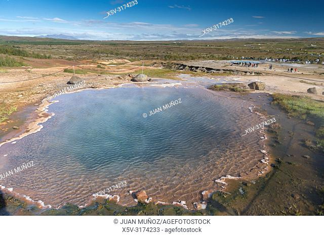 Boiling waters. Geothermalism Geysir Golden Circle. Iceland